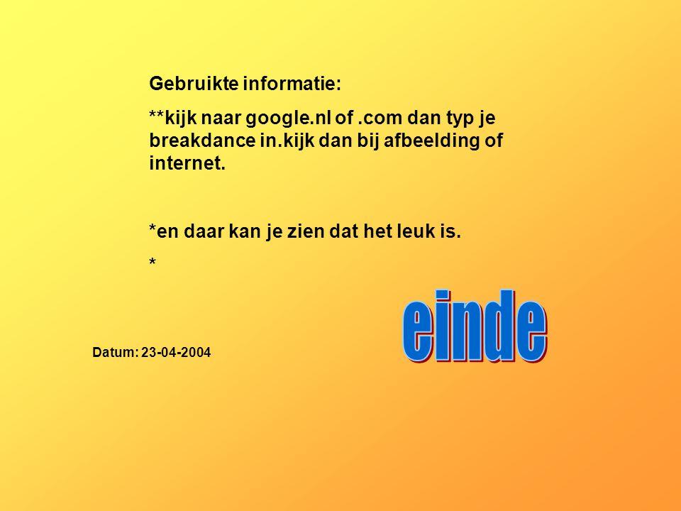 einde Gebruikte informatie: