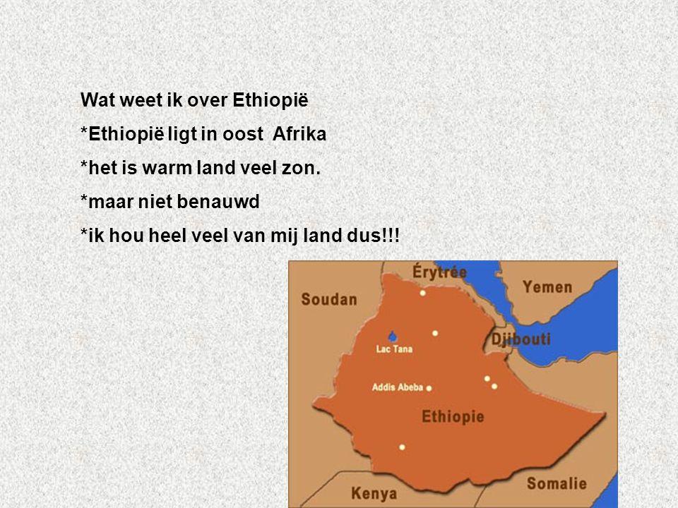 Wat weet ik over Ethiopië *Ethiopië ligt in oost Afrika