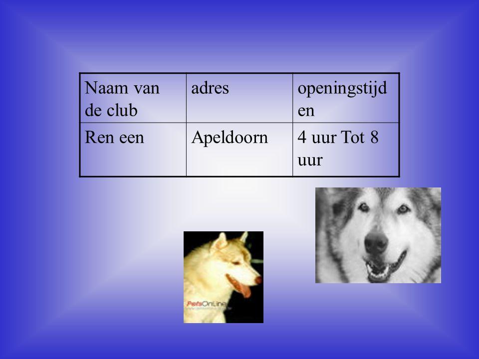 Naam van de club adres openingstijden Ren een Apeldoorn