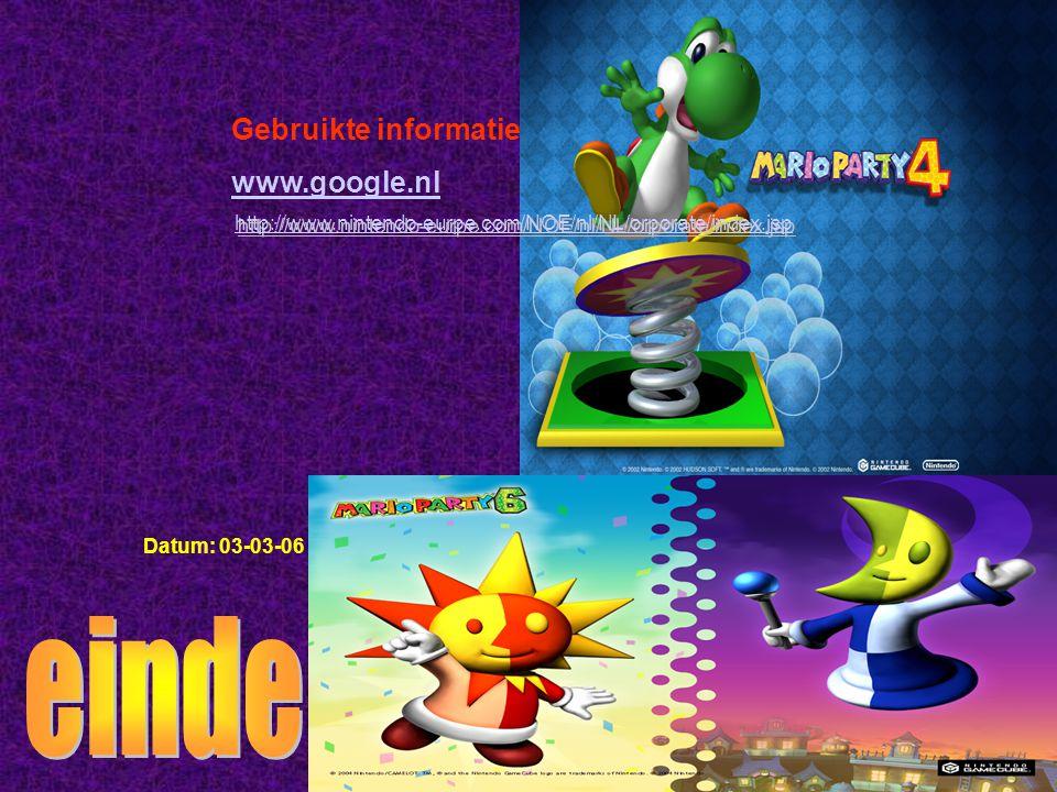 einde Gebruikte informatie: www.google.nl