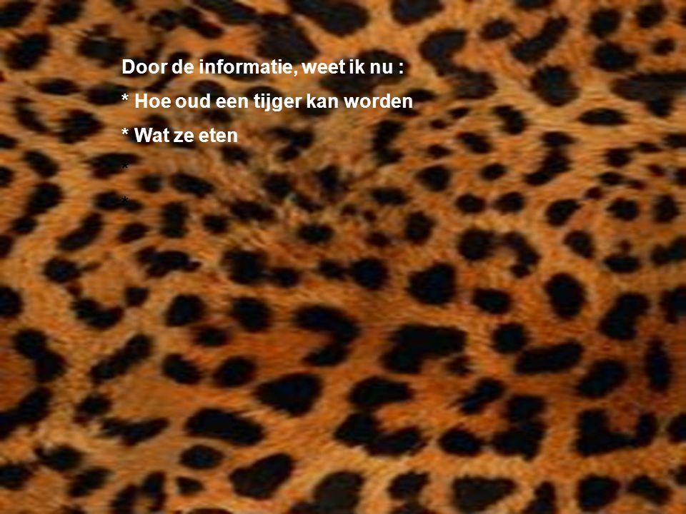 Door de informatie, weet ik nu : * Hoe oud een tijger kan worden