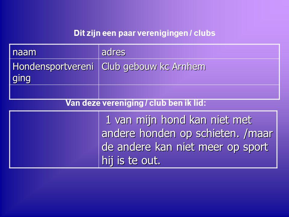 Dit zijn een paar verenigingen / clubs