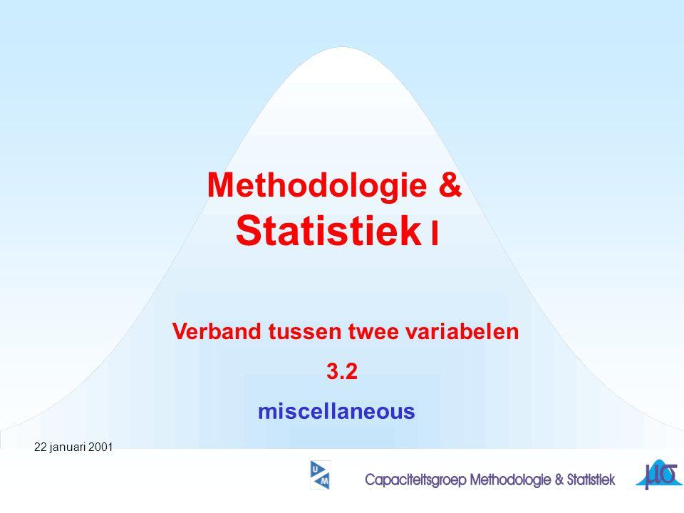 Methodologie & Statistiek I Verband tussen twee variabelen 3.2