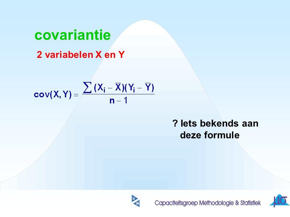 covariantie 2 variabelen X en Y Iets bekends aan deze formule
