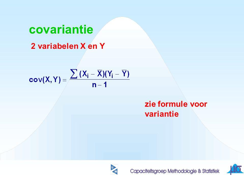 covariantie 2 variabelen X en Y zie formule voor variantie