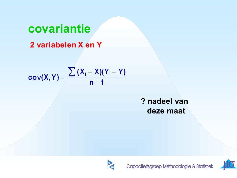 covariantie 2 variabelen X en Y nadeel van deze maat