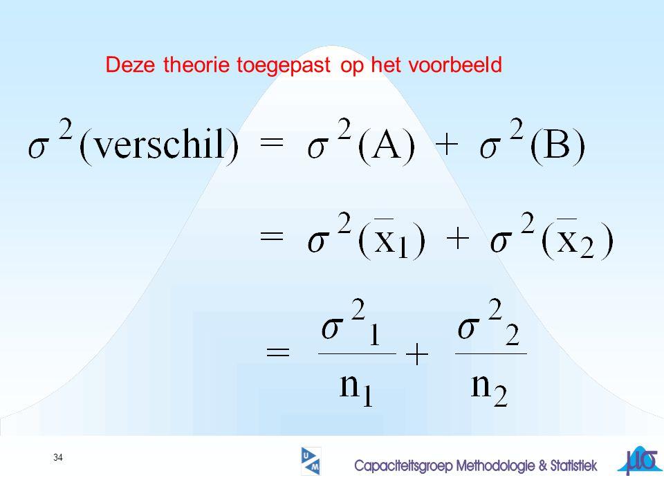 Deze theorie toegepast op het voorbeeld