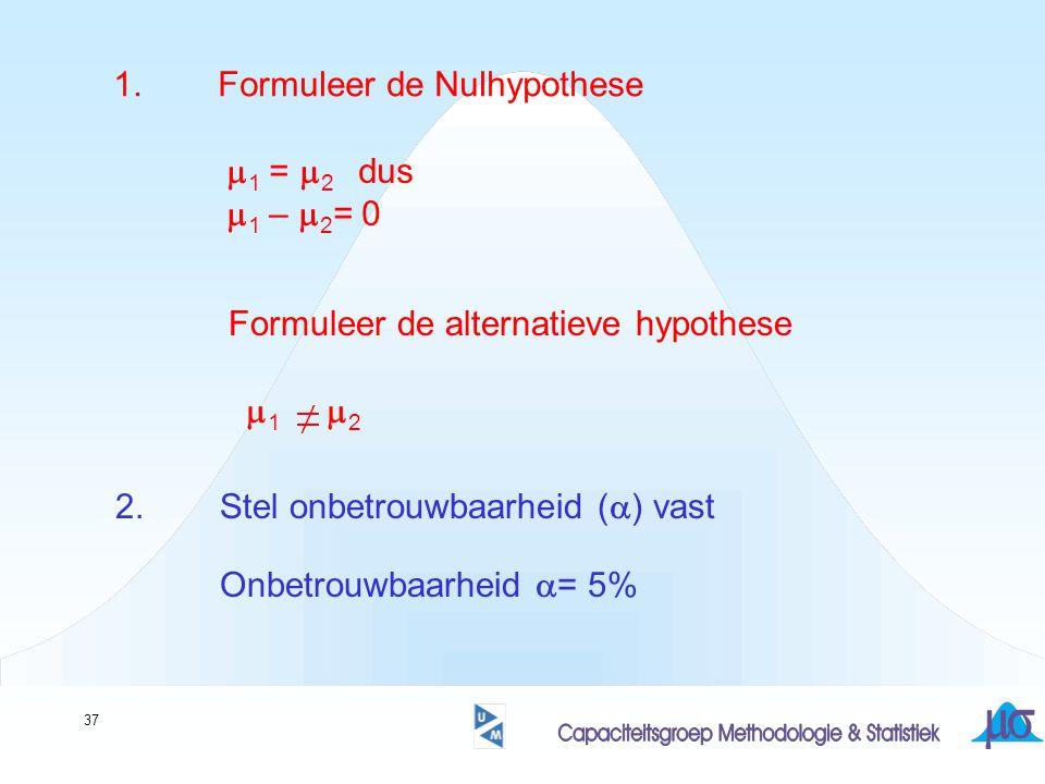 1. Formuleer de Nulhypothese