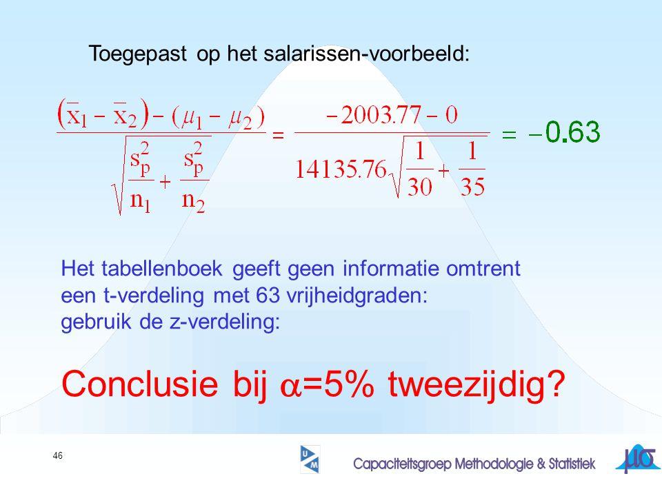 Conclusie bij a=5% tweezijdig
