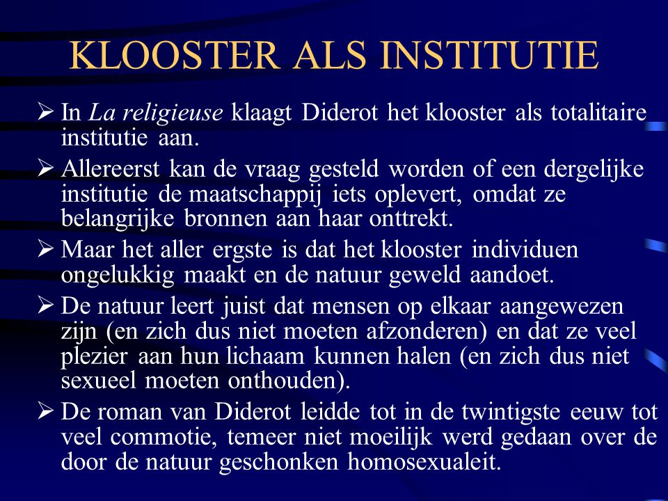 KLOOSTER ALS INSTITUTIE