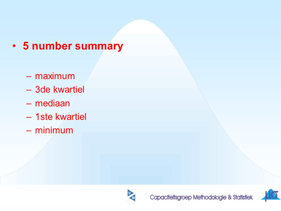 5 number summary maximum 3de kwartiel mediaan 1ste kwartiel minimum