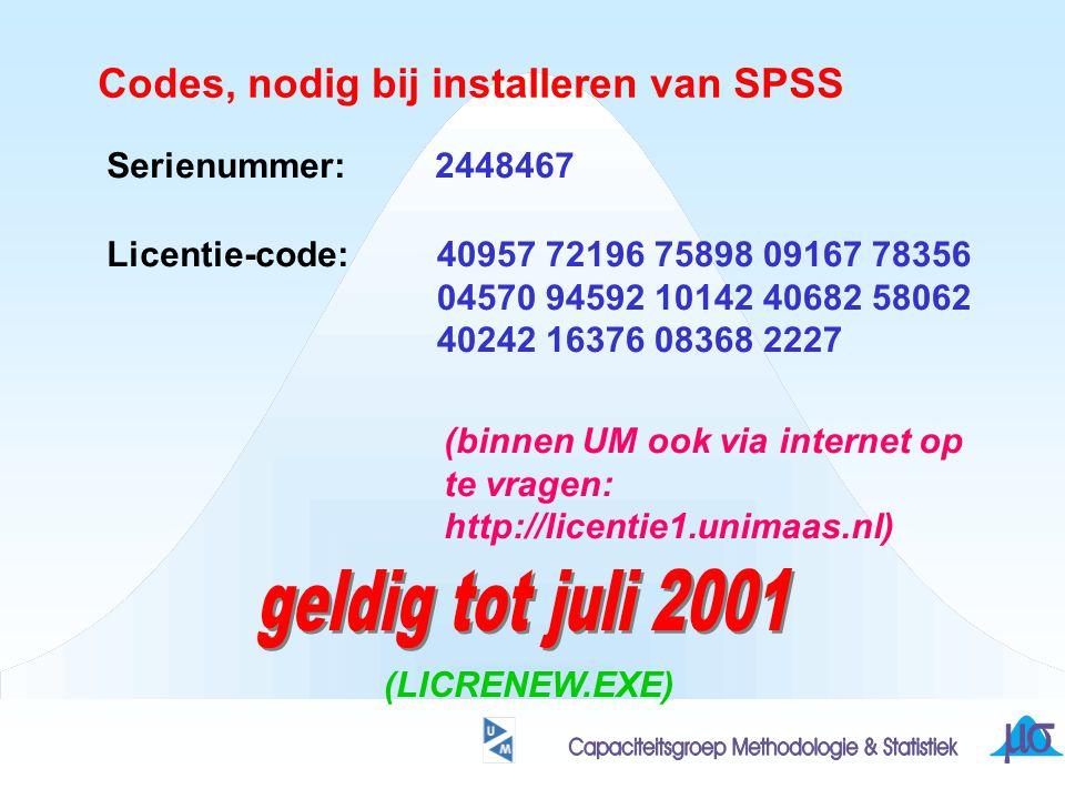 geldig tot juli 2001 Codes, nodig bij installeren van SPSS