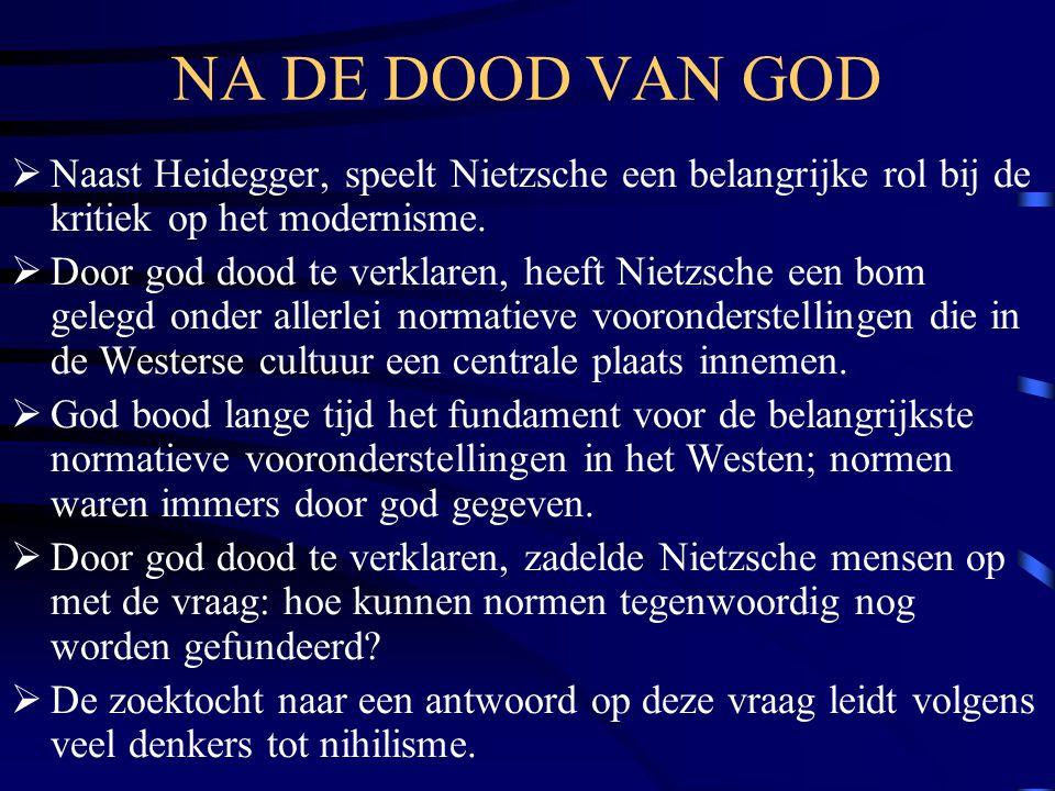 NA DE DOOD VAN GOD Naast Heidegger, speelt Nietzsche een belangrijke rol bij de kritiek op het modernisme.