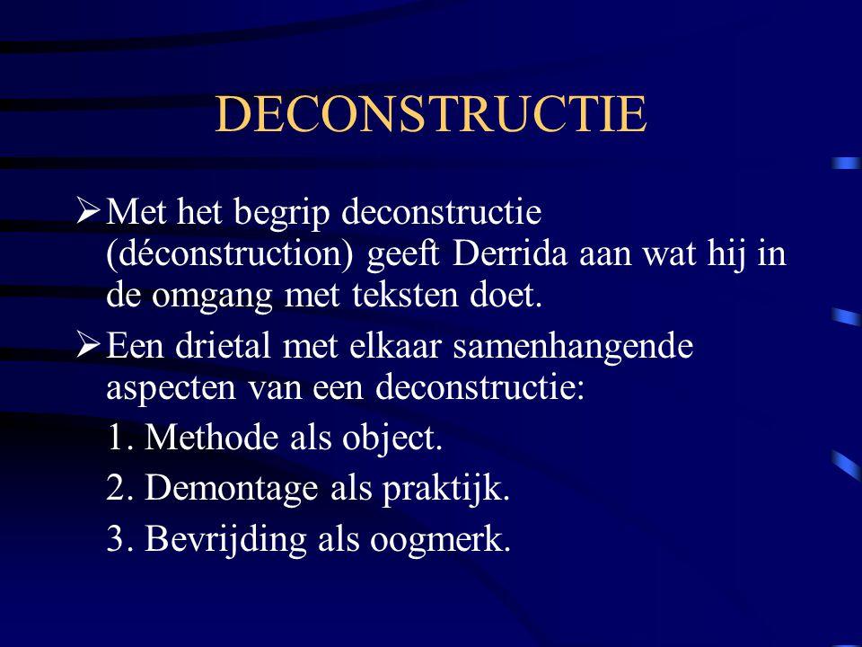 DECONSTRUCTIE Met het begrip deconstructie (déconstruction) geeft Derrida aan wat hij in de omgang met teksten doet.
