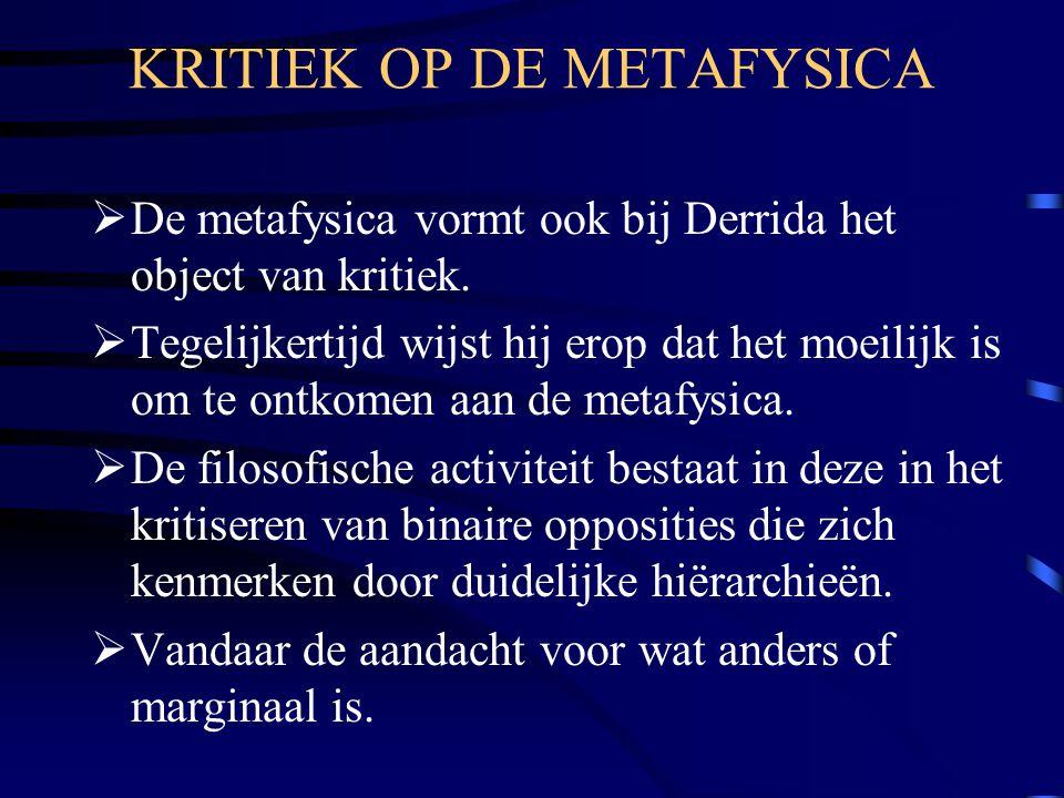 KRITIEK OP DE METAFYSICA
