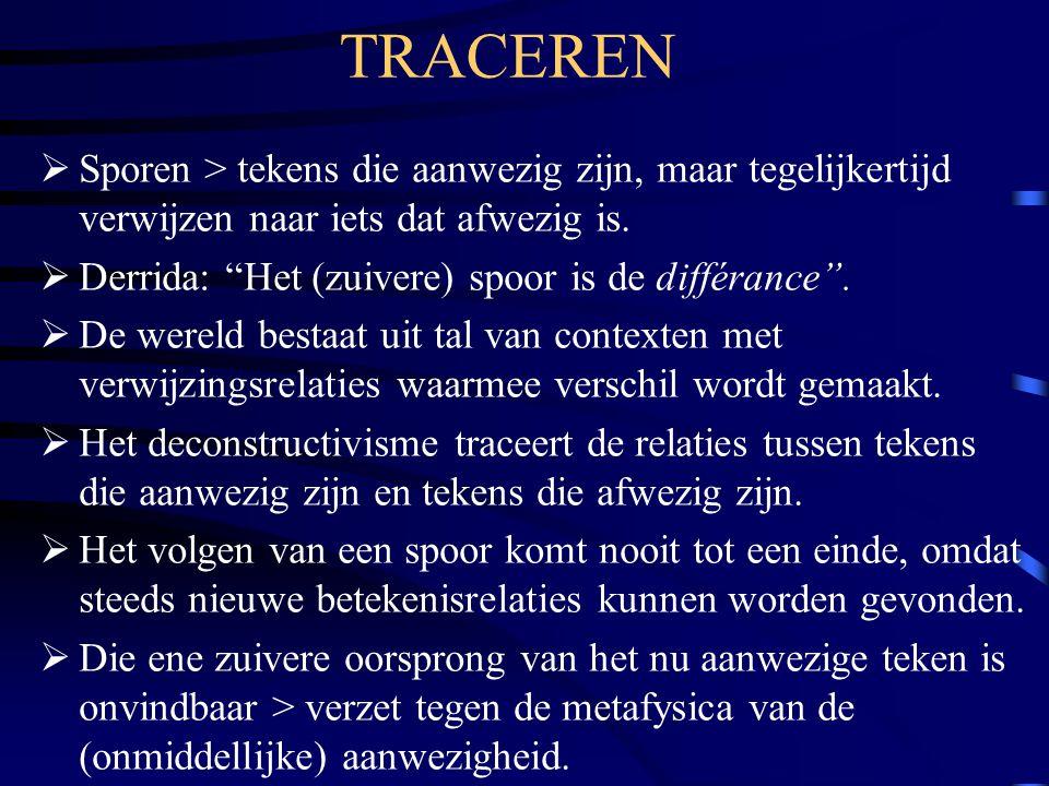 TRACEREN Sporen > tekens die aanwezig zijn, maar tegelijkertijd verwijzen naar iets dat afwezig is.