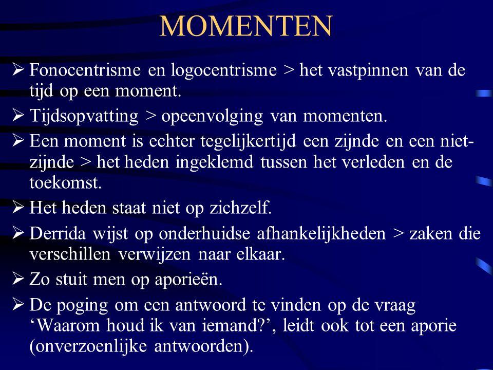 MOMENTEN Fonocentrisme en logocentrisme > het vastpinnen van de tijd op een moment. Tijdsopvatting > opeenvolging van momenten.
