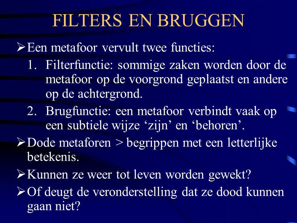 FILTERS EN BRUGGEN Een metafoor vervult twee functies: