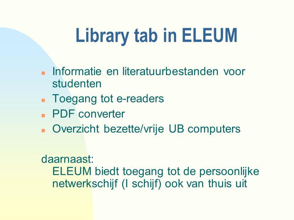 Library tab in ELEUM Informatie en literatuurbestanden voor studenten