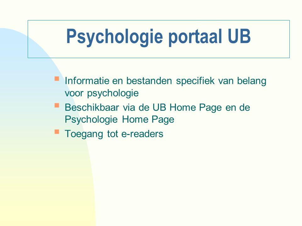 Psychologie portaal UB