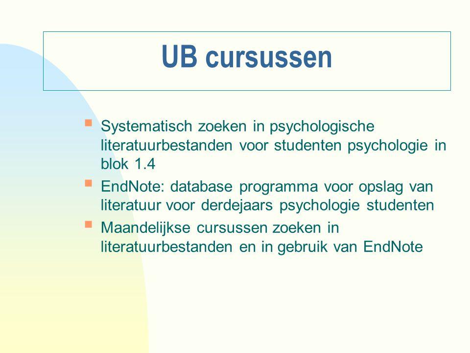 UB cursussen Systematisch zoeken in psychologische literatuurbestanden voor studenten psychologie in blok 1.4.