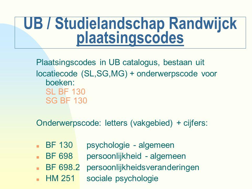 UB / Studielandschap Randwijck plaatsingscodes