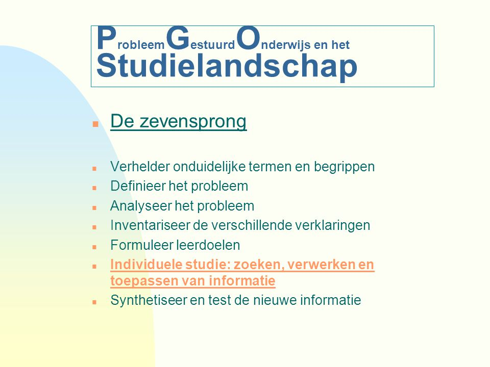 ProbleemGestuurdOnderwijs en het Studielandschap