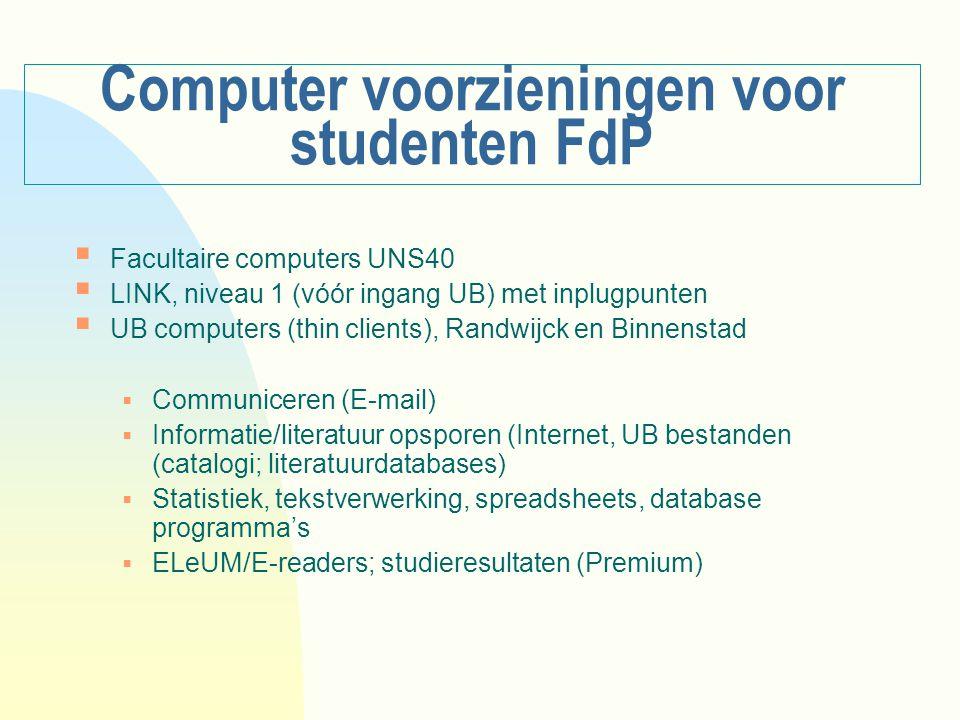 Computer voorzieningen voor studenten FdP