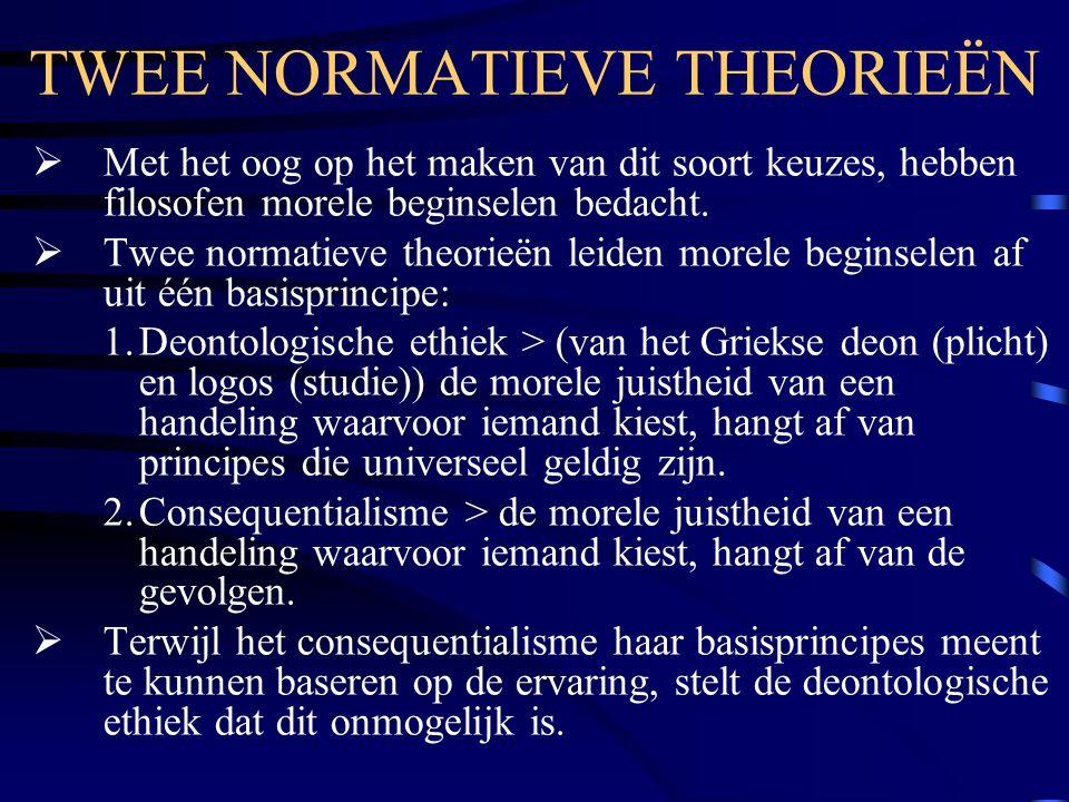 TWEE NORMATIEVE THEORIEËN