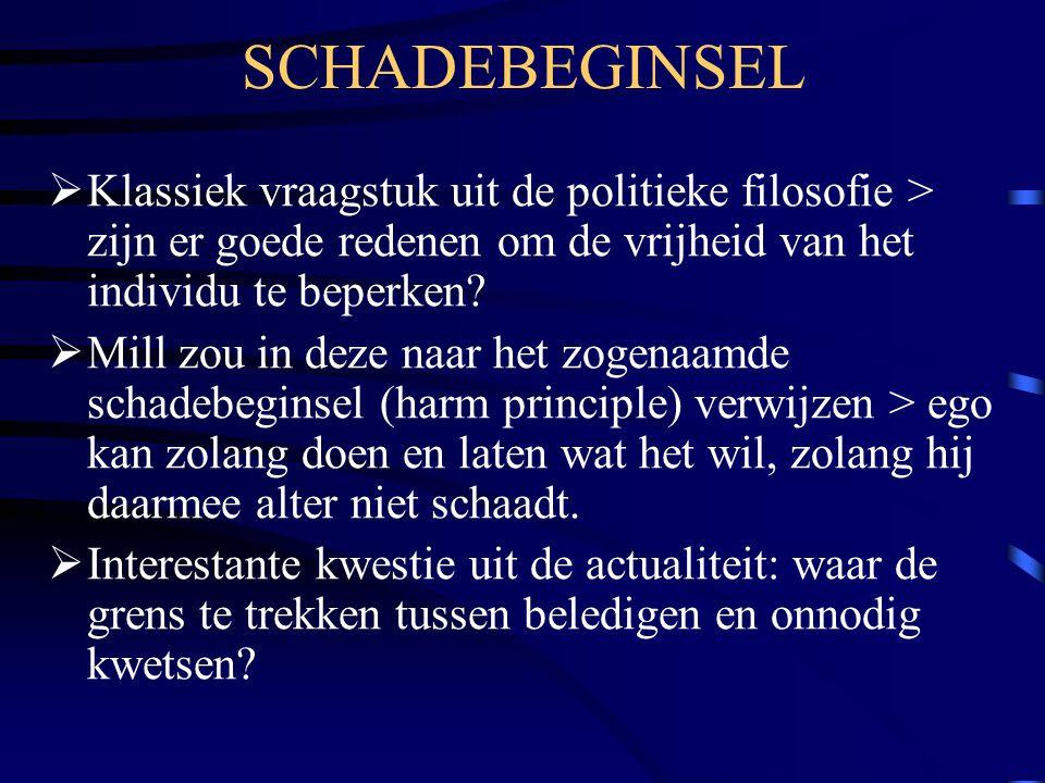 SCHADEBEGINSEL Klassiek vraagstuk uit de politieke filosofie > zijn er goede redenen om de vrijheid van het individu te beperken