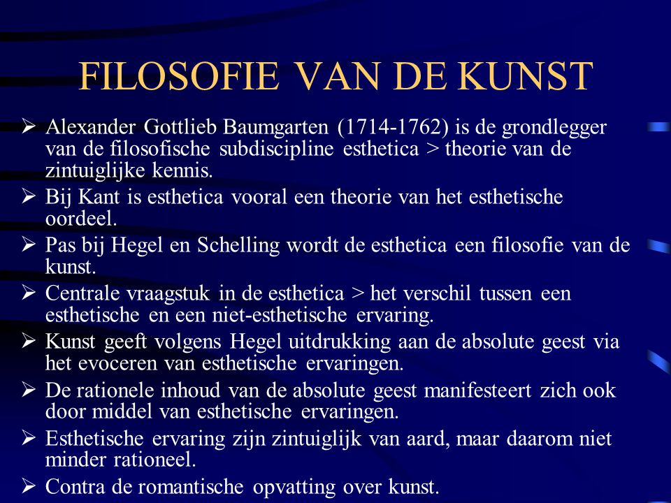 FILOSOFIE VAN DE KUNST