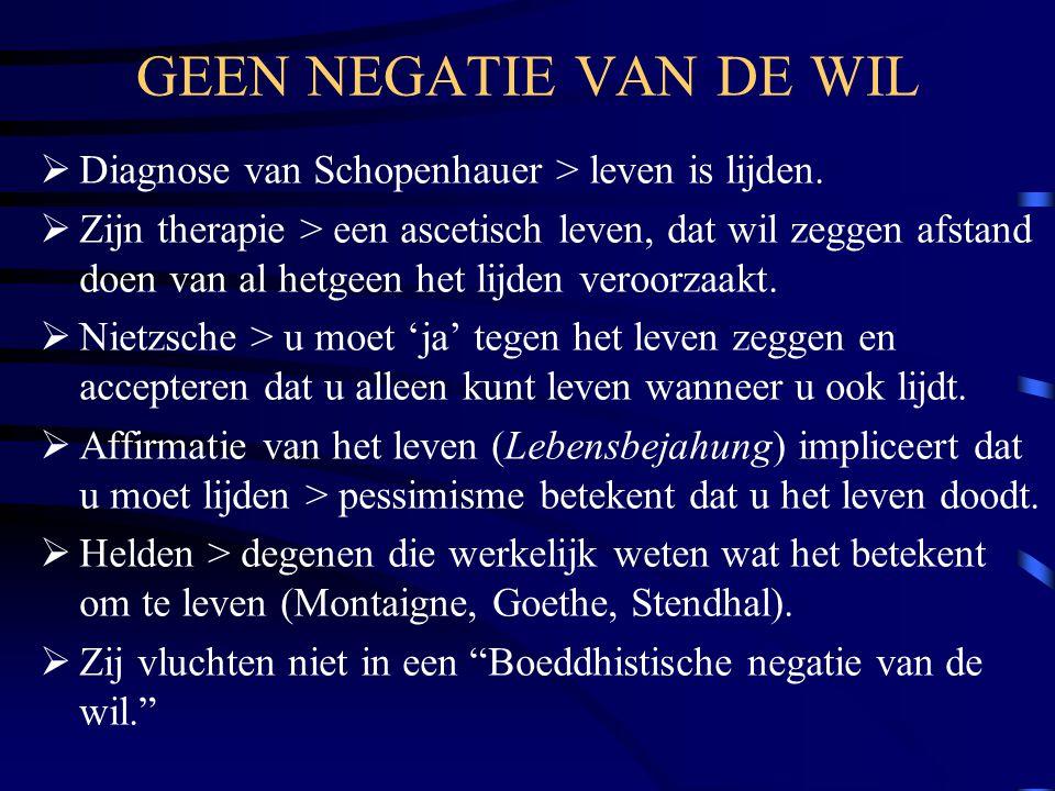 GEEN NEGATIE VAN DE WIL Diagnose van Schopenhauer > leven is lijden.
