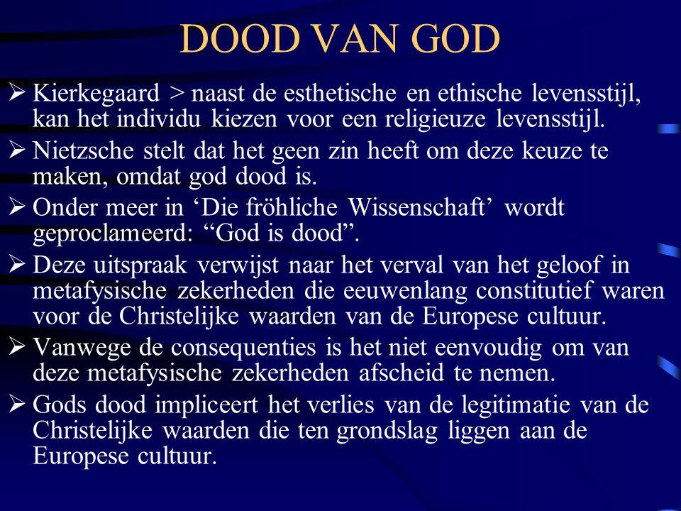DOOD VAN GOD Kierkegaard > naast de esthetische en ethische levensstijl, kan het individu kiezen voor een religieuze levensstijl.