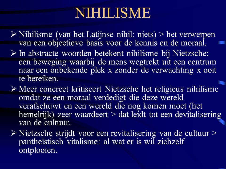 NIHILISME Nihilisme (van het Latijnse nihil: niets) > het verwerpen van een objectieve basis voor de kennis en de moraal.