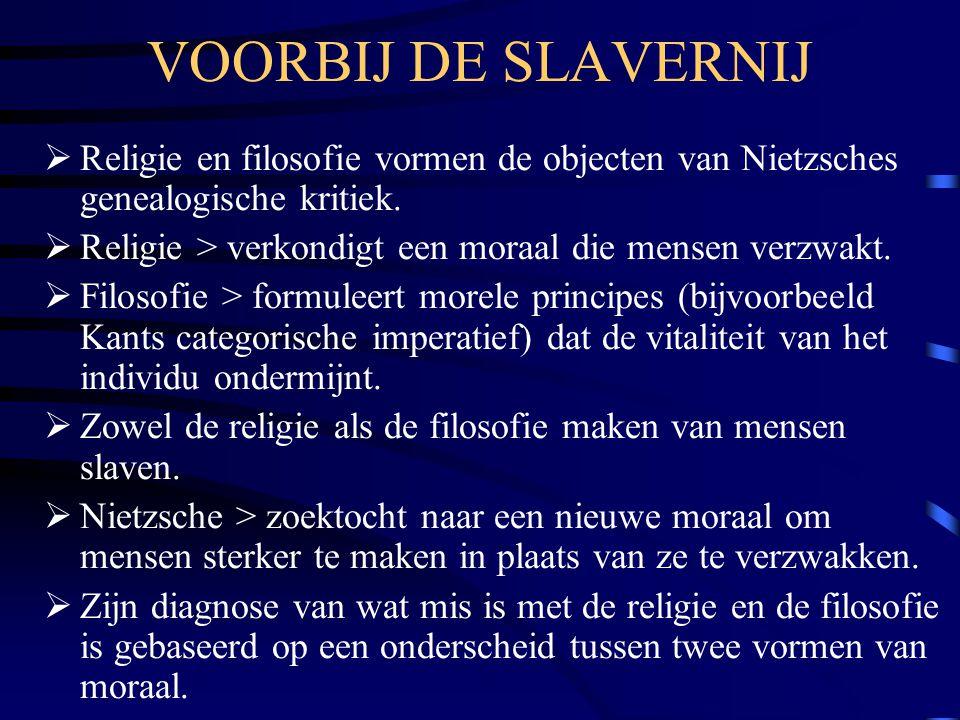 VOORBIJ DE SLAVERNIJ Religie en filosofie vormen de objecten van Nietzsches genealogische kritiek.