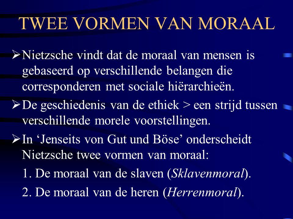 TWEE VORMEN VAN MORAAL Nietzsche vindt dat de moraal van mensen is gebaseerd op verschillende belangen die corresponderen met sociale hiërarchieën.