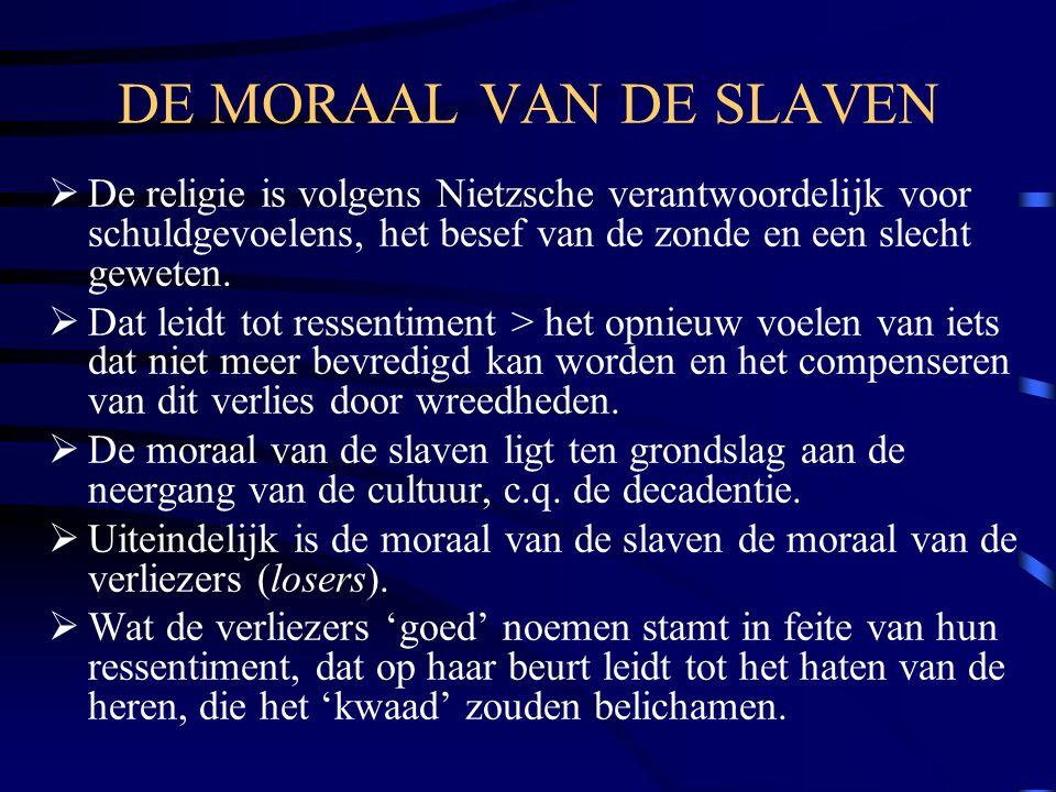 DE MORAAL VAN DE SLAVEN De religie is volgens Nietzsche verantwoordelijk voor schuldgevoelens, het besef van de zonde en een slecht geweten.