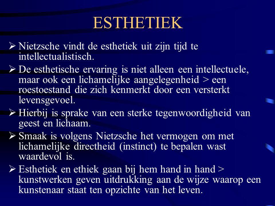 ESTHETIEK Nietzsche vindt de esthetiek uit zijn tijd te intellectualistisch.
