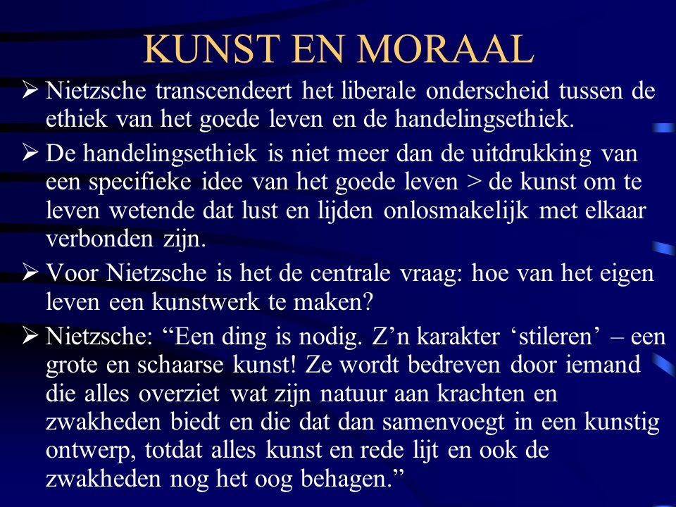 KUNST EN MORAAL Nietzsche transcendeert het liberale onderscheid tussen de ethiek van het goede leven en de handelingsethiek.