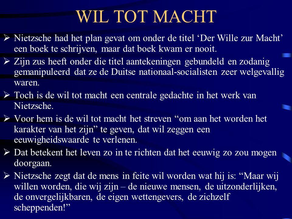 WIL TOT MACHT Nietzsche had het plan gevat om onder de titel 'Der Wille zur Macht' een boek te schrijven, maar dat boek kwam er nooit.