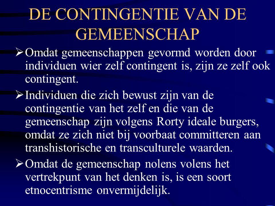 DE CONTINGENTIE VAN DE GEMEENSCHAP