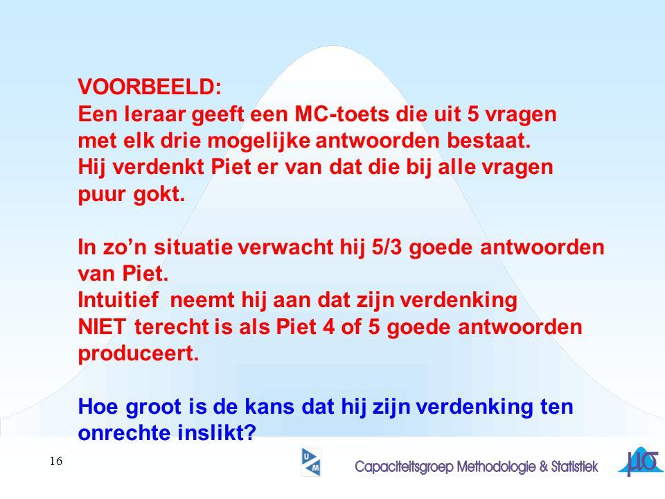 VOORBEELD: Een leraar geeft een MC-toets die uit 5 vragen. met elk drie mogelijke antwoorden bestaat.