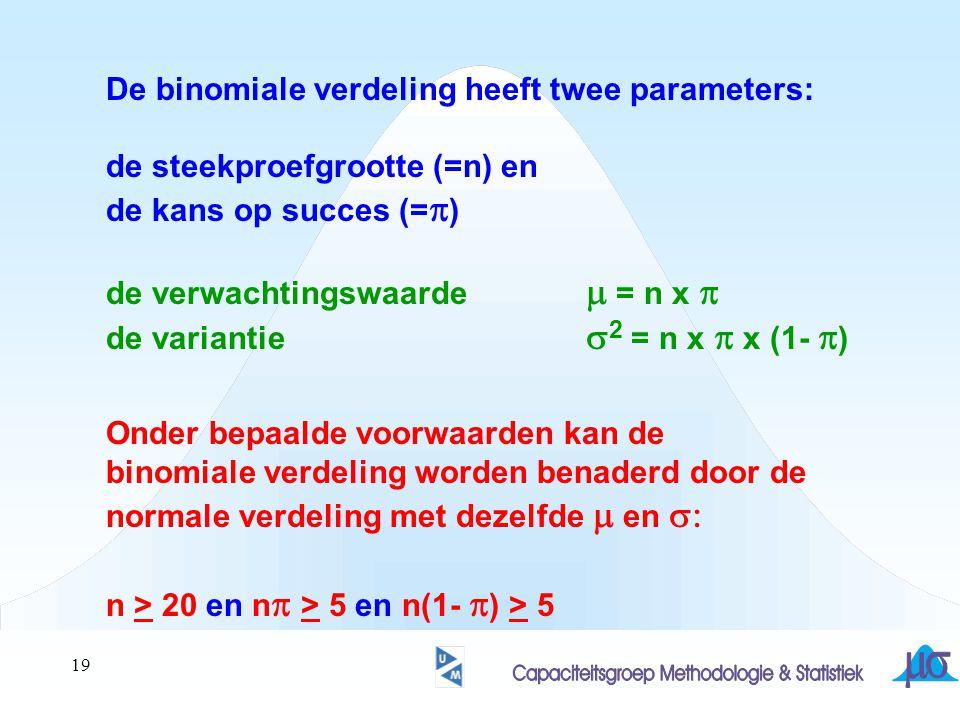 De binomiale verdeling heeft twee parameters: