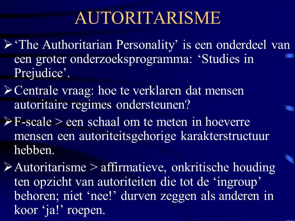 AUTORITARISME 'The Authoritarian Personality' is een onderdeel van een groter onderzoeksprogramma: 'Studies in Prejudice'.