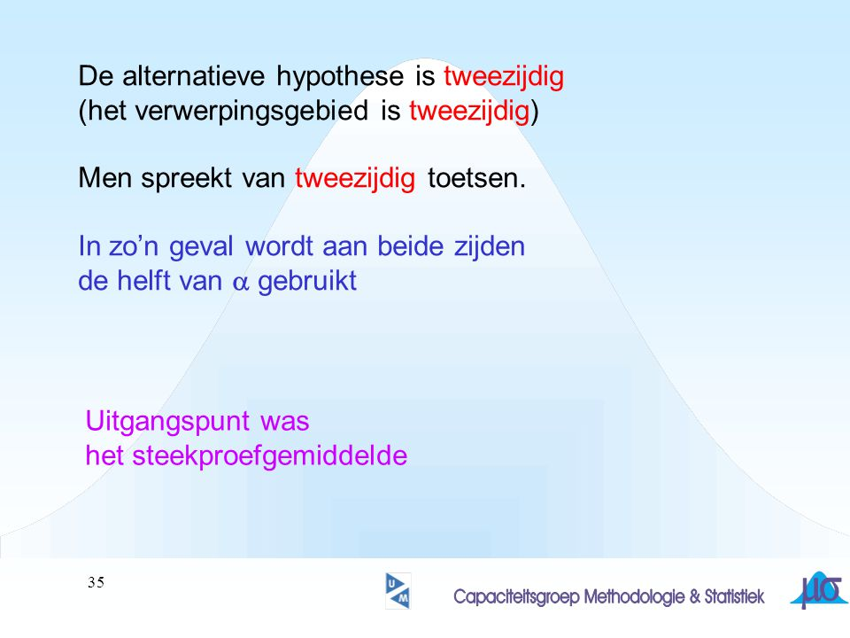 De alternatieve hypothese is tweezijdig