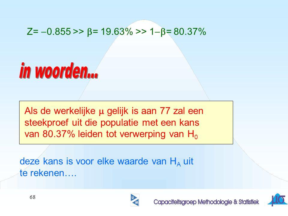 in woorden... Z= -0.855 >> b= 19.63% >> 1-b= 80.37%
