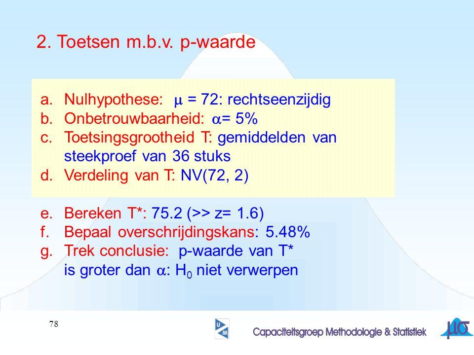 2. Toetsen m.b.v. p-waarde Nulhypothese: m = 72: rechtseenzijdig