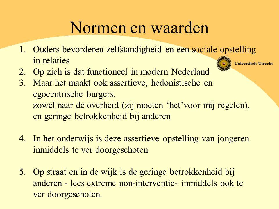Normen en waarden Ouders bevorderen zelfstandigheid en een sociale opstelling. in relaties. Op zich is dat functioneel in modern Nederland.