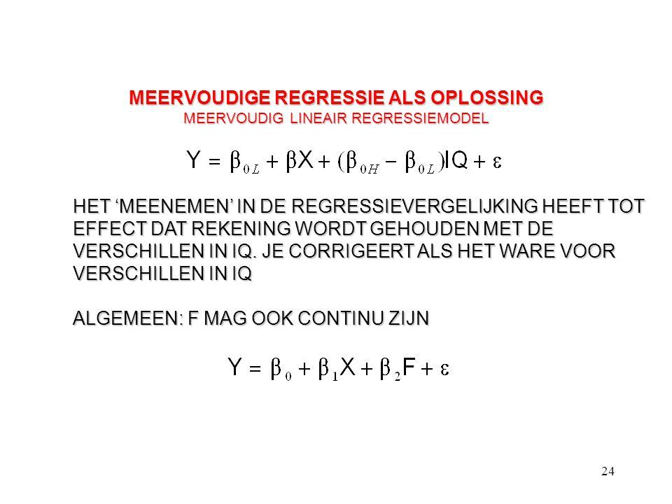 MEERVOUDIGE REGRESSIE ALS OPLOSSING MEERVOUDIG LINEAIR REGRESSIEMODEL