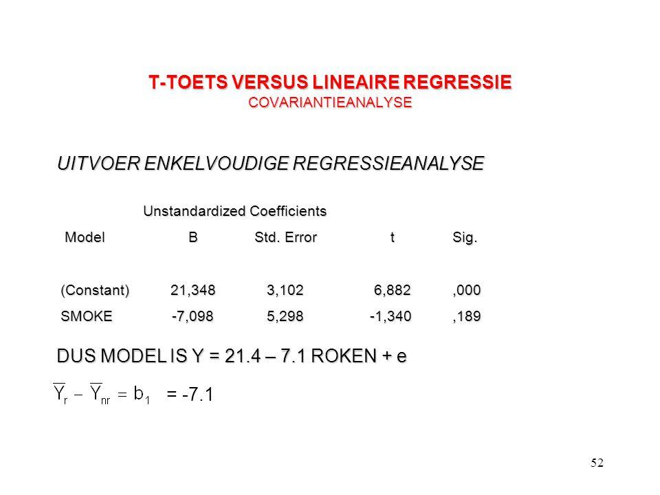 T-TOETS VERSUS LINEAIRE REGRESSIE COVARIANTIEANALYSE